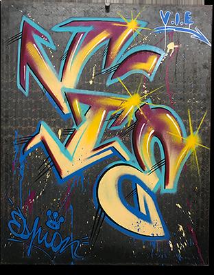 Graff sur plaque de métal